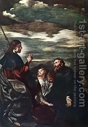 St Augustine Washing The Feet Of The Redeemer by Guercino - Reproduction Oil Painting