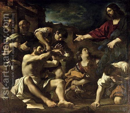 The Resurrection of Lazarus 1619 by Guercino - Reproduction Oil Painting