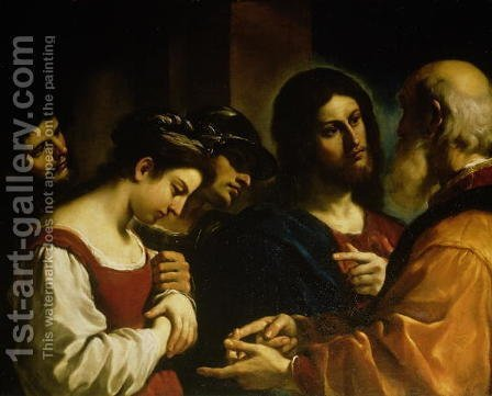 The Woman taken in Adultery 1621 by Guercino - Reproduction Oil Painting