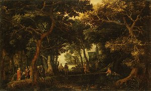 Reproduction oil paintings - David Vinckboons - Forest Landscape with Two of Christs Miracles