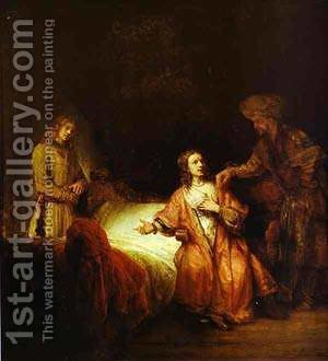 Joseph Accused By Potiphars Wife 1655 by Harmenszoon van Rijn Rembrandt - Reproduction Oil Painting