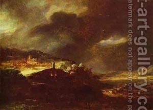 Paysage Dorage 1638 by Harmenszoon van Rijn Rembrandt - Reproduction Oil Painting