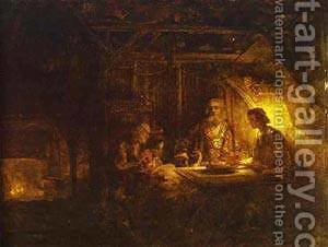 Philemon And Baucis 1658 by Harmenszoon van Rijn Rembrandt - Reproduction Oil Painting