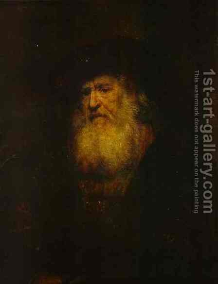 Portrait Of A Bearded Man In Black Beret 1654 by Harmenszoon van Rijn Rembrandt - Reproduction Oil Painting