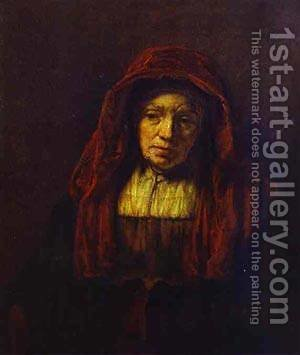 Portrait Of An Old Woman 1654 by Harmenszoon van Rijn Rembrandt - Reproduction Oil Painting