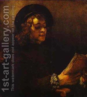 Portrait Of Titus Reading 1656-57 by Harmenszoon van Rijn Rembrandt - Reproduction Oil Painting