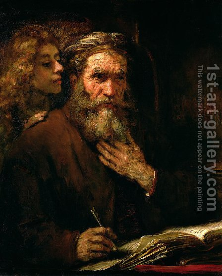 St Matthew and The Angel 1655 60 by Harmenszoon van Rijn Rembrandt - Reproduction Oil Painting