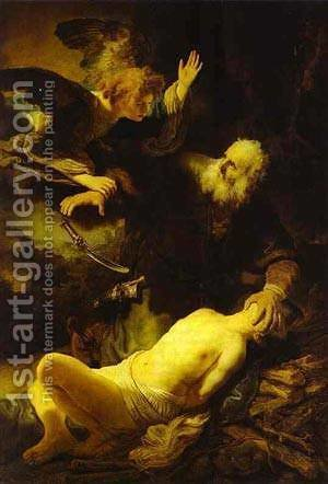 The Angel Stopping Abraham From Sacrificing Isaac To God 1635 by Harmenszoon van Rijn Rembrandt - Reproduction Oil Painting