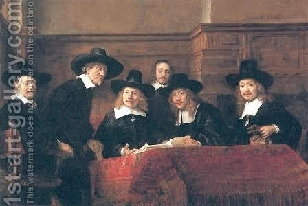 The Syndics Of The Clothmakers Guild (The Staalmeesters) 1662 by Harmenszoon van Rijn Rembrandt - Reproduction Oil Painting
