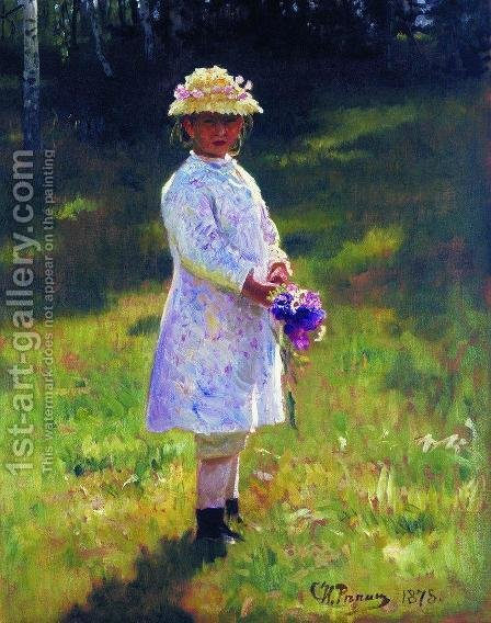 Girl With Flowers Daughter Of The Artist 1878 by Ilya Efimovich Efimovich Repin - Reproduction Oil Painting