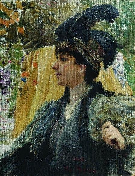 Portrait Of V V Verevkina 1916 by Ilya Efimovich Efimovich Repin - Reproduction Oil Painting