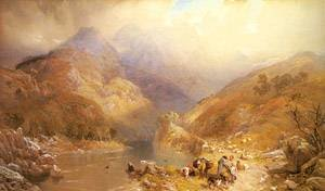 Reproduction oil paintings - Thomas Miles Richardson - Gate Crag Borrowdale Cumberland