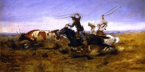 Famous paintings of Horses & Horse Riding: O.H.Cowboys Roping a Steer