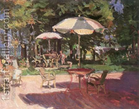 The Garden of Hotel Hullam 1956 by Imre Amos - Reproduction Oil Painting