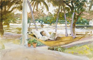 Reproduction oil paintings - Sargent - Figure in Hammock Florid 1917