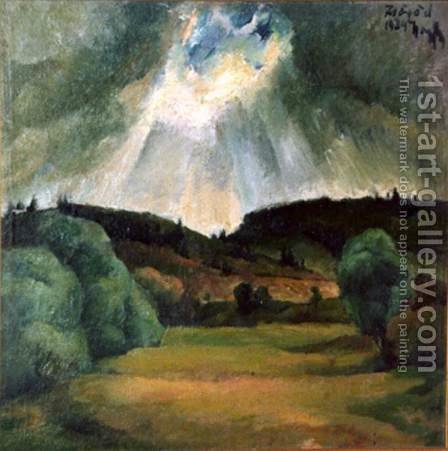 Landscape at Zsogod 1924 by Gyula Rudnay - Reproduction Oil Painting