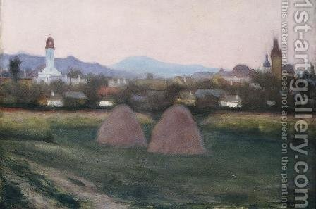 View of Nagybanya 1918 by Istvan Boldizsar - Reproduction Oil Painting