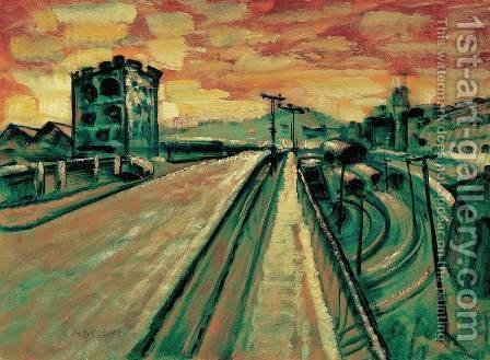 Bridge at the Railway Station by Gyula Batthyany - Reproduction Oil Painting