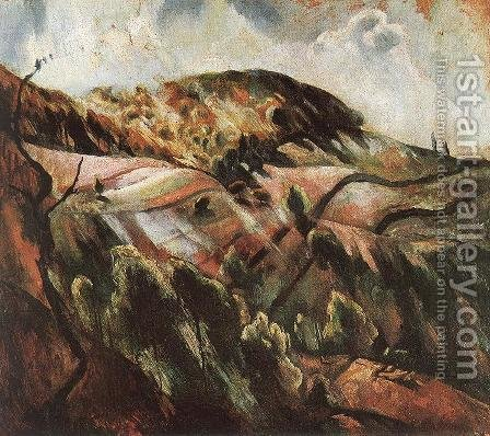 Zebegeny Hills (Sunny Landscape) 1923 by Istvan Desi-Huber - Reproduction Oil Painting
