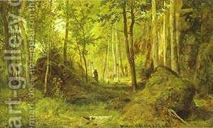 Landscape With A Hunter Valaam Island 1867 by Ivan Shishkin - Reproduction Oil Painting