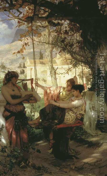 Song Of A Slave Girl 1884 by Henryk Hector Siemiradzki - Reproduction Oil Painting