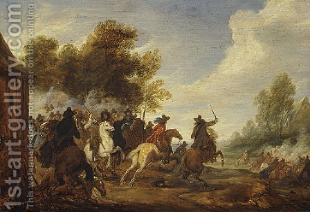 A Cavalry Engagement by Adam Frans van der Meulen - Reproduction Oil Painting