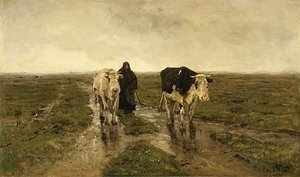 Reproduction oil paintings - Anton Mauve - Changing Pasture ca 1880s