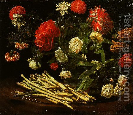 Still Life with Roses Asparagus Peonies and Carnations by Giovanni Martinelli - Reproduction Oil Painting
