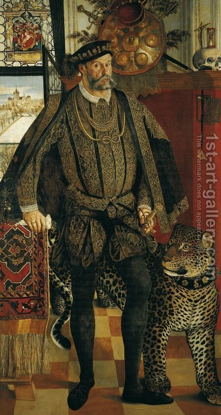 Portrait of Ladislaus von Fraunberg Count of Haag 1557 by Hans Muelich or Mielich - Reproduction Oil Painting