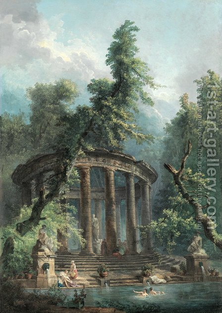 The Bathing Pool by Hubert Robert - Reproduction Oil Painting