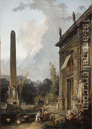 Wandering Minstrels by Hubert Robert - Reproduction Oil Painting