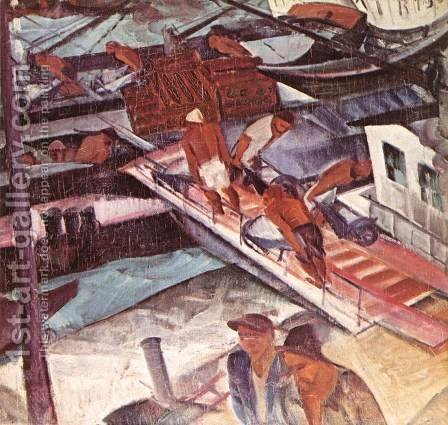 Carriers on the Danube (Port) by Gyula Derkovits - Reproduction Oil Painting