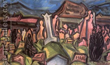A Very Old Cemetery 1937 by Imre Nagy - Reproduction Oil Painting