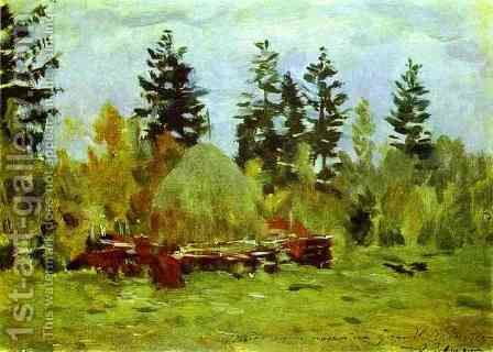 A Haystack Study 1894 by Isaak Ilyich Levitan - Reproduction Oil Painting