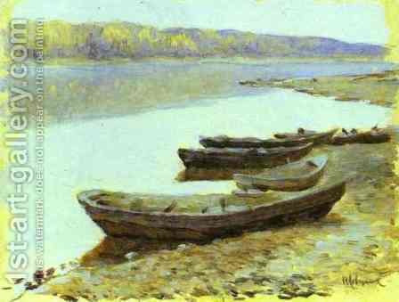Landscape on the Volga Boats by the Riverbank by Isaak Ilyich Levitan - Reproduction Oil Painting