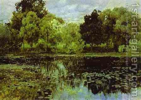 Overgrown Pond Study 1887 by Isaak Ilyich Levitan - Reproduction Oil Painting