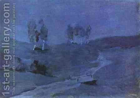 Shadows Moonlit Night 1885 by Isaak Ilyich Levitan - Reproduction Oil Painting