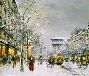 Famous paintings of Trams: Boulevard de la Madeleine Sous la Neige