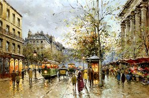 Famous paintings of Trams: Flower Market at the Madeleine