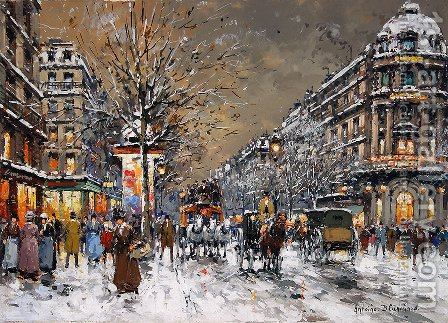 Les Grands Boulevards sous la Neige by Agost Benkhard - Reproduction Oil Painting