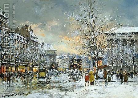 Omnibus at the Place de la Madeleine Winter by Agost Benkhard - Reproduction Oil Painting