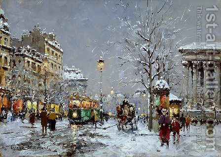 Place de la Madeleine Winter by Agost Benkhard - Reproduction Oil Painting