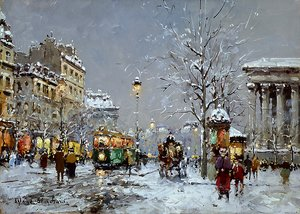Famous paintings of Trams: Place de la Madeleine Winter
