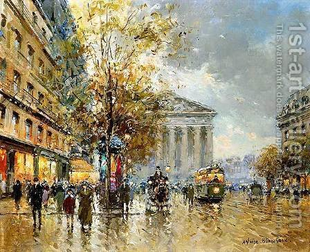 Rue Royale Madeleine by Agost Benkhard - Reproduction Oil Painting