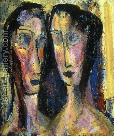 Two Heads with Yellow Background 1928-1929 by Alfred Henry Maurer - Reproduction Oil Painting