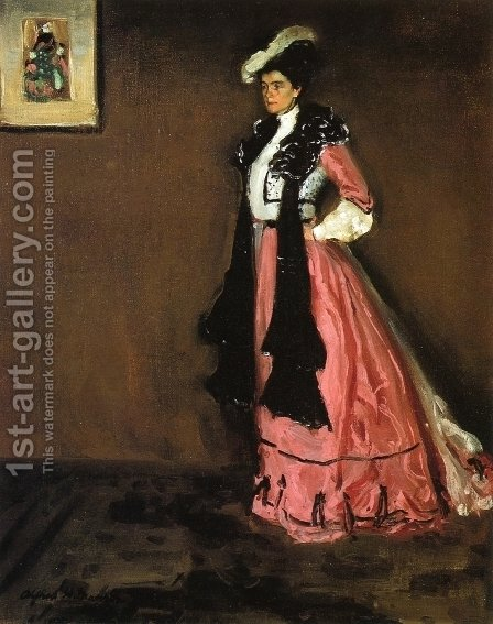 Woman in Pink Portrait of Roselle Fitzpatrick 1902 by Alfred Henry Maurer - Reproduction Oil Painting