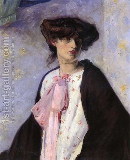Woman with a Pink Bow Date unknown by Alfred Henry Maurer - Reproduction Oil Painting