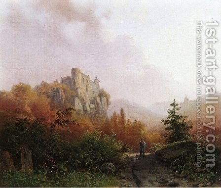 Summer A Peasant on a Rocky Path a Ruin in the Background by Alexander Joseph Daiwaille - Reproduction Oil Painting