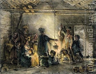 Interior of a Coal Miners Hut by (after) Charlet, Nicolas Toussaint - Reproduction Oil Painting