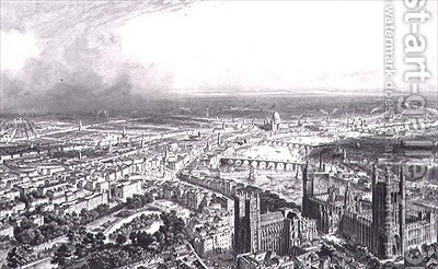 Birds Eye View of London from Westminster Abbey by (after) Chapuy, Nicolas Marie Joseph - Reproduction Oil Painting